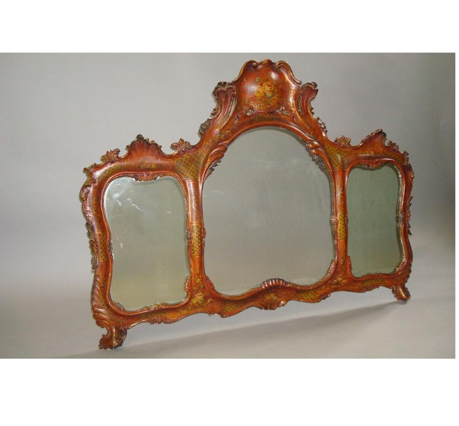 C19th Venetian decorated wall mirror