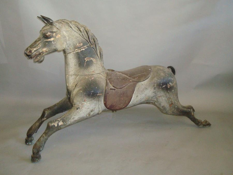 19th century carved wood carousel horse