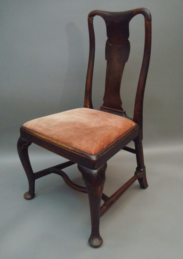 George I walnut cabriole leg side chair