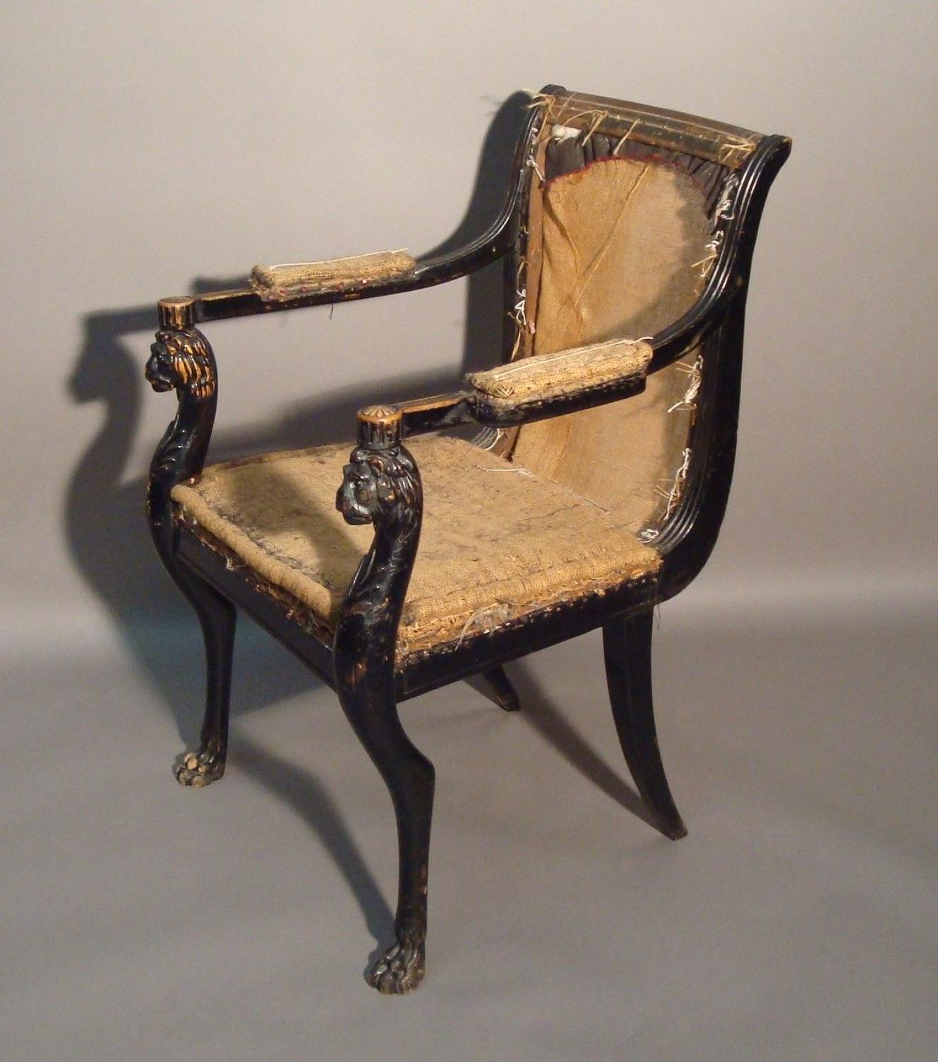 Regency carved open armchair