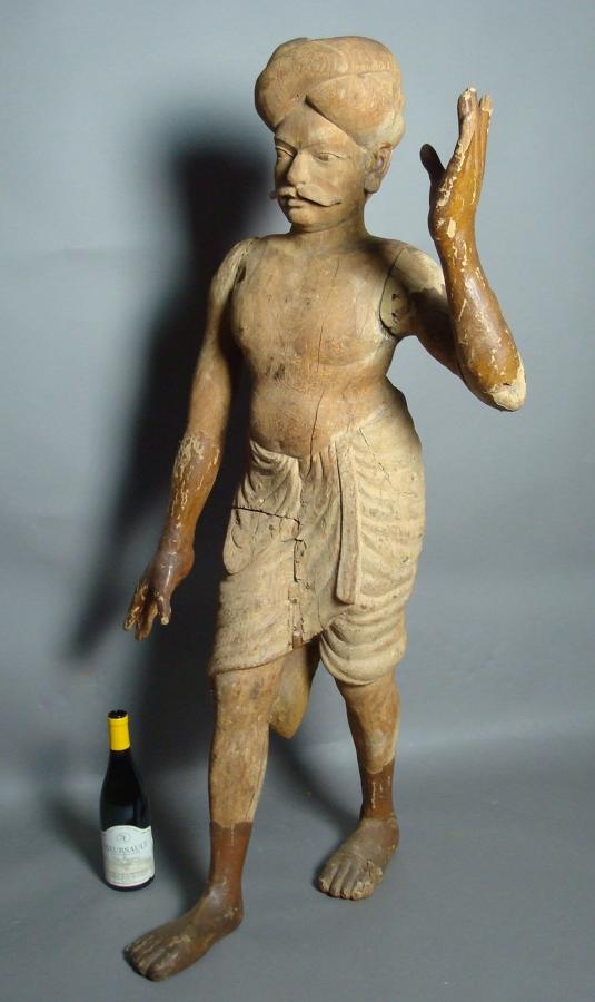 19th century unusual carved wood Indian figure