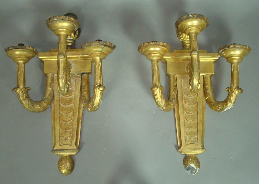 19th century pair of three branch wall lights