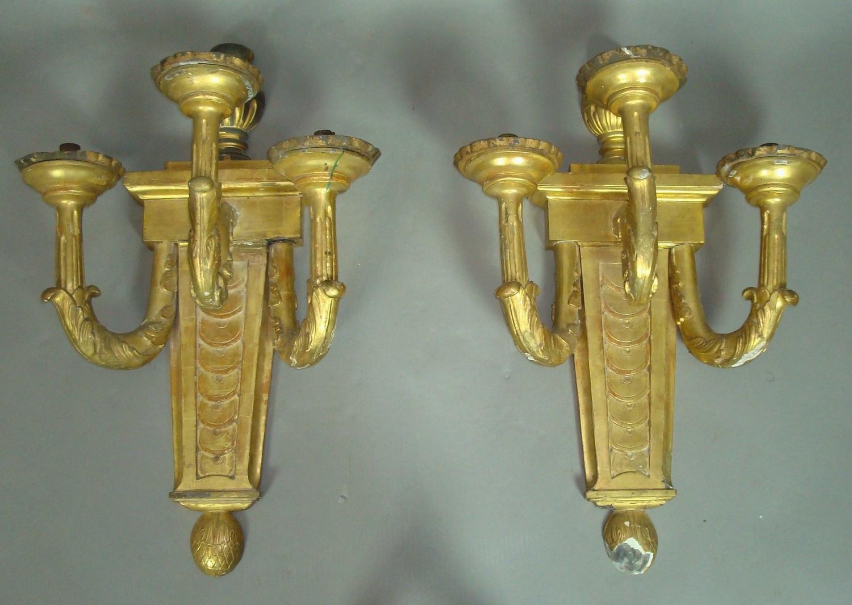 19th century pair of three branch wall lights