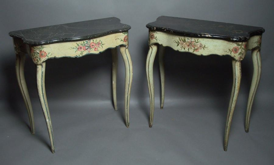18th century pair of Italian painted console tables