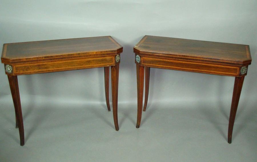 George III pair of sabre leg card tables