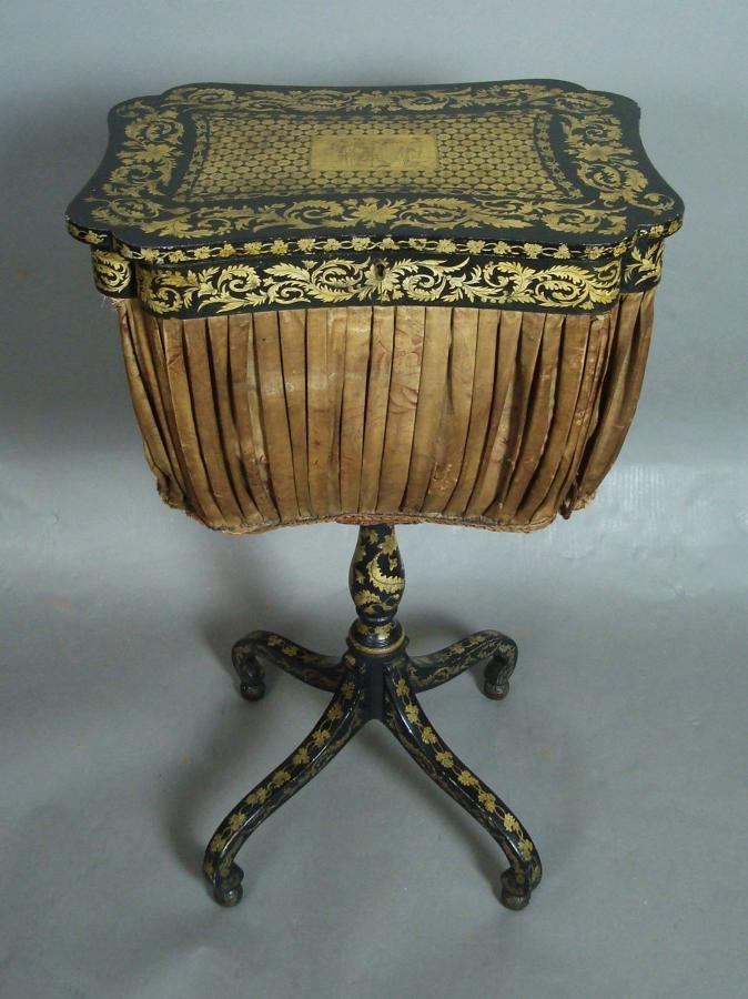 Regency penwork sewing table