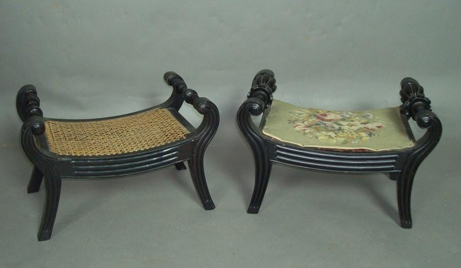 C19th Anglo Indian ebony Foot Stools