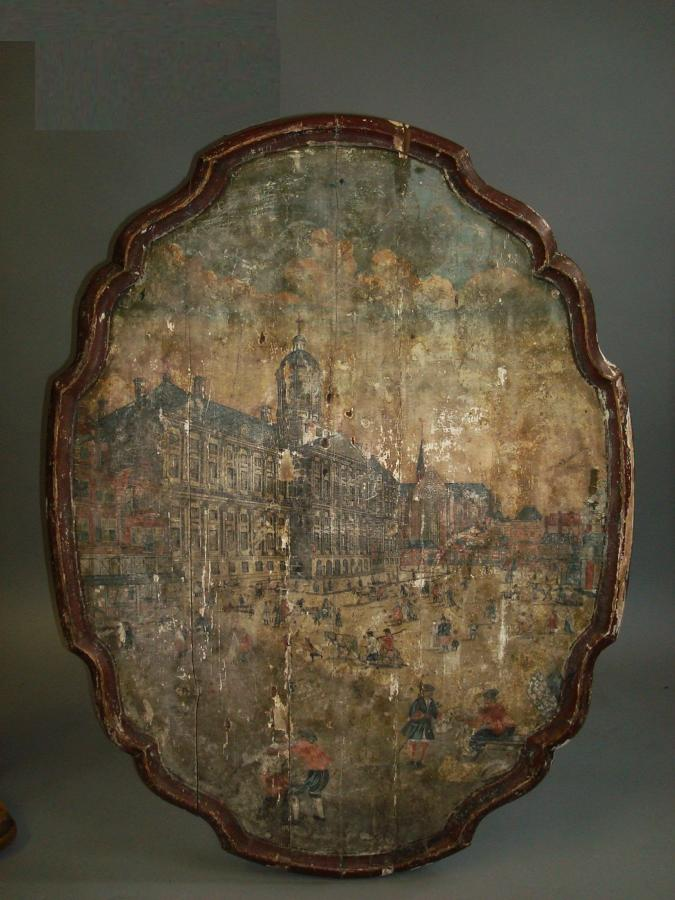 C18th interesting Continental painted table top