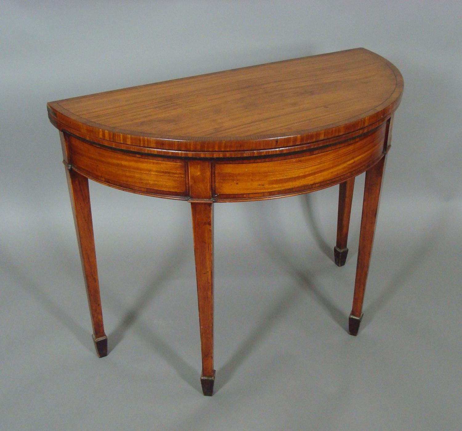 George III satinwood demilune card table