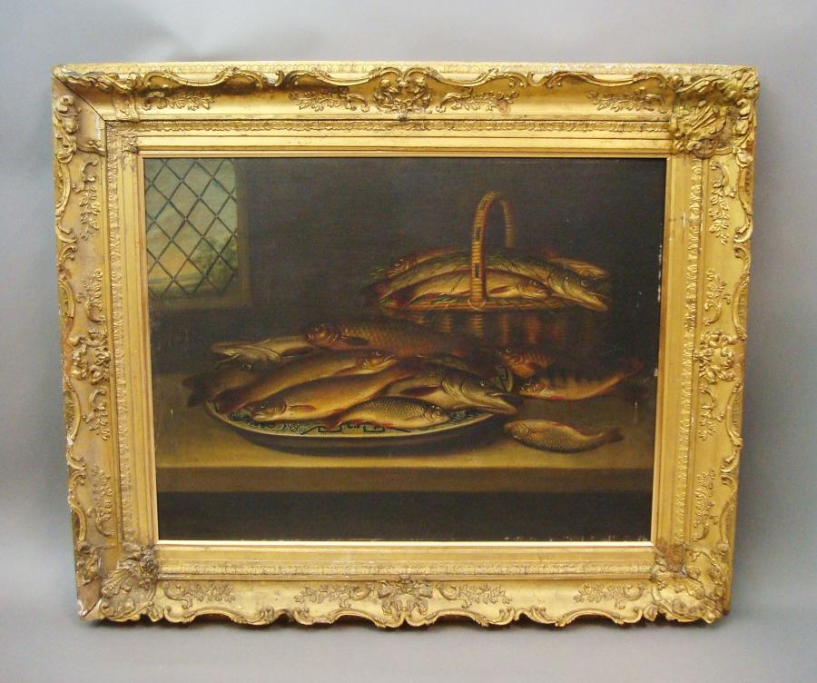 C19th oil painting on canvas of trout