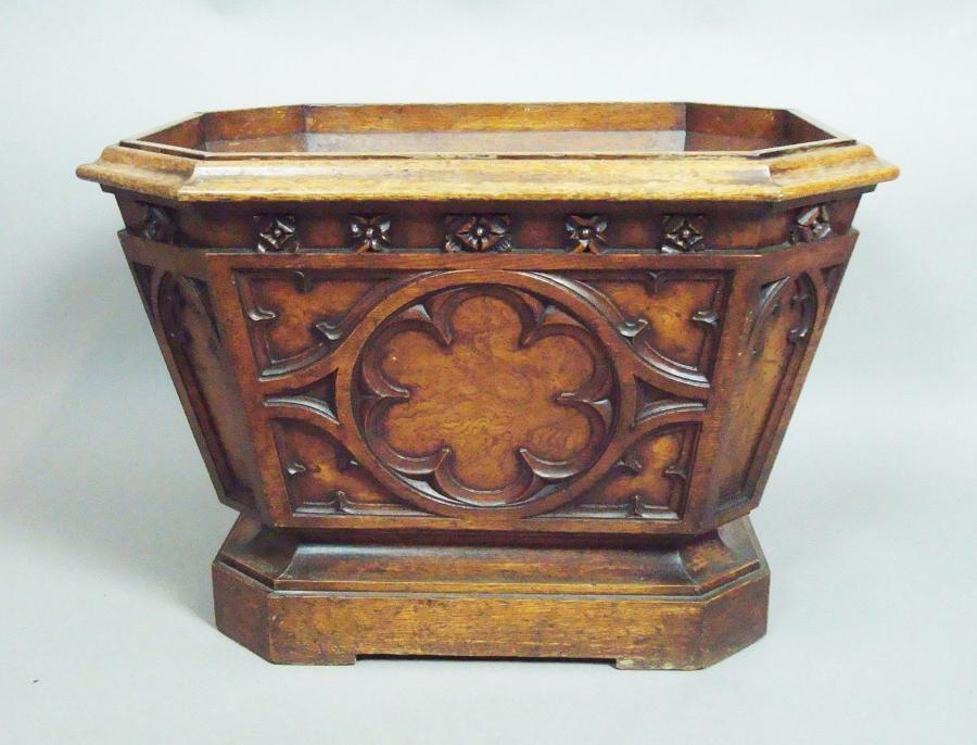George IV gothic oak wine cooler