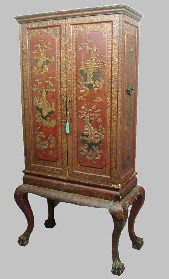 C18th Chinese red lacquer cabinet on stand