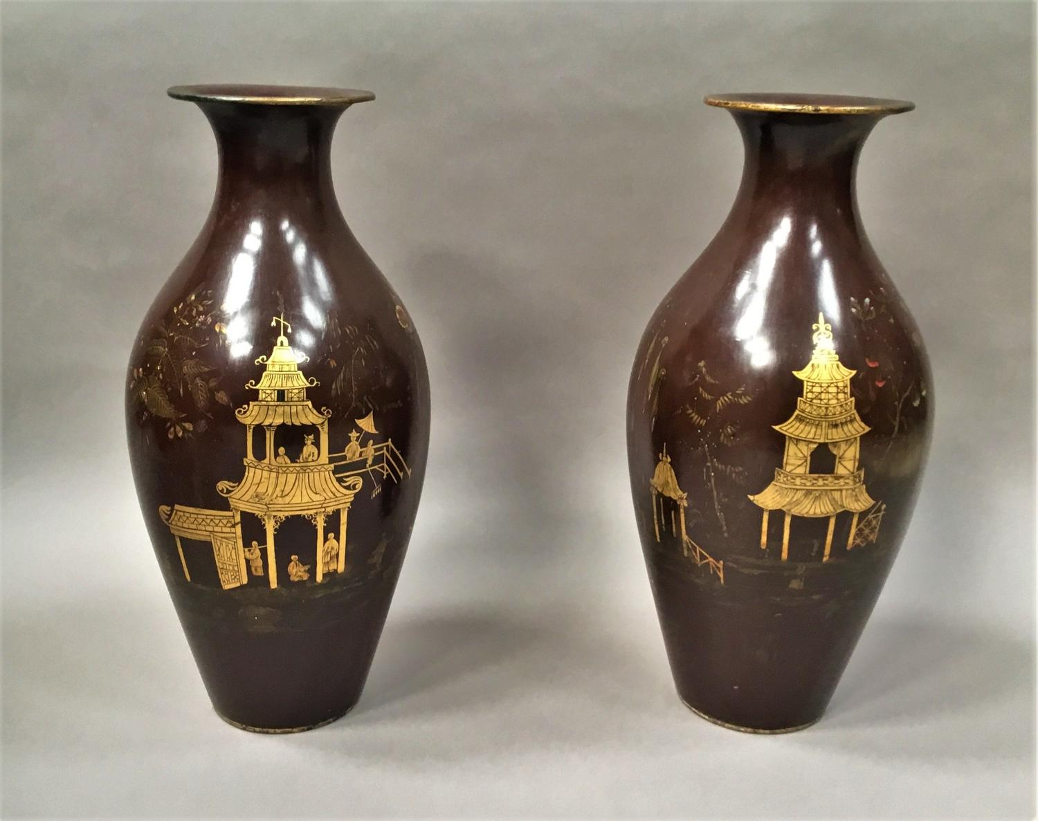 C19th pair of lacquered papier mache vases by Jennens & Bettridge
