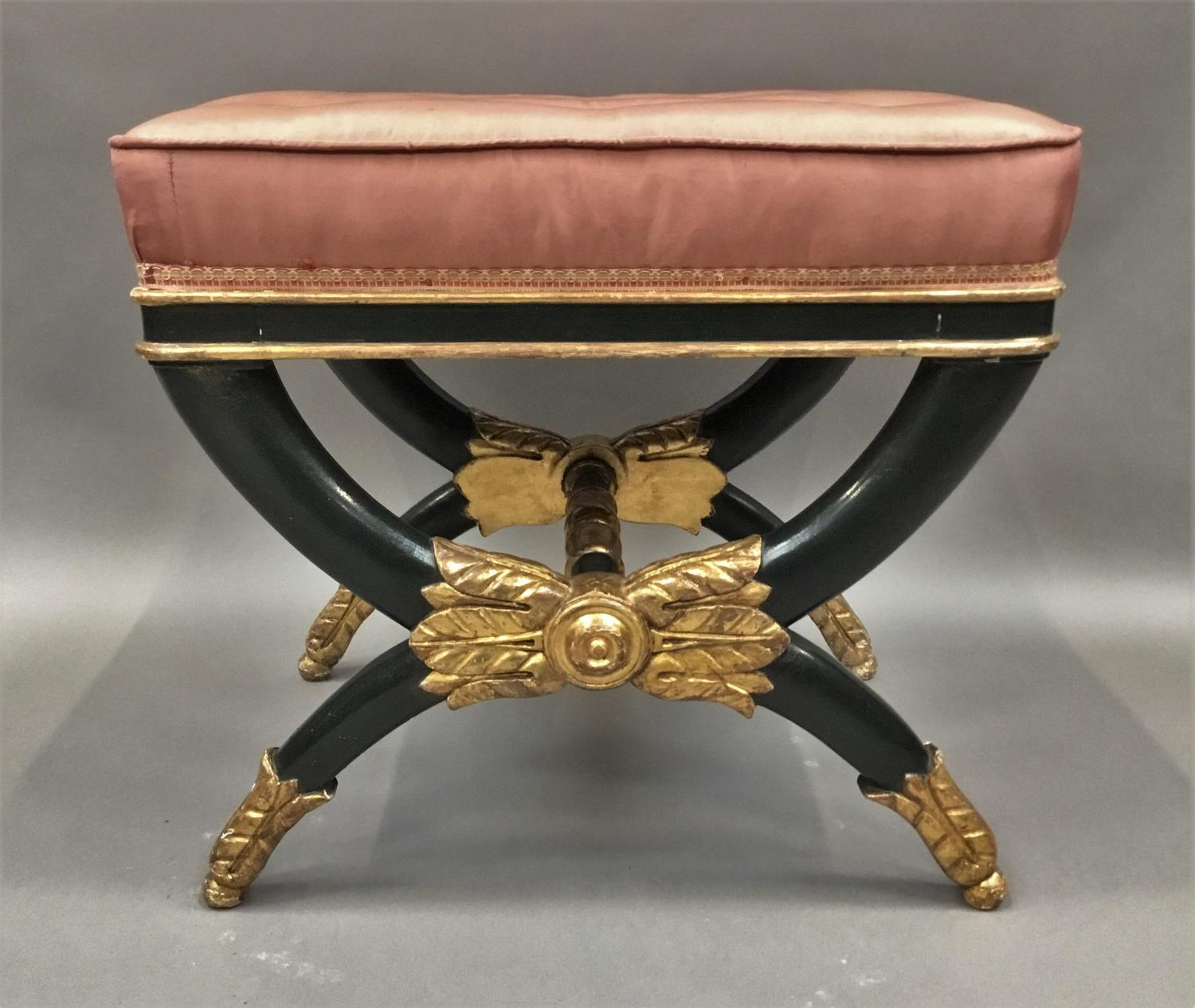 Good Regency /Empire 'x' frame stool