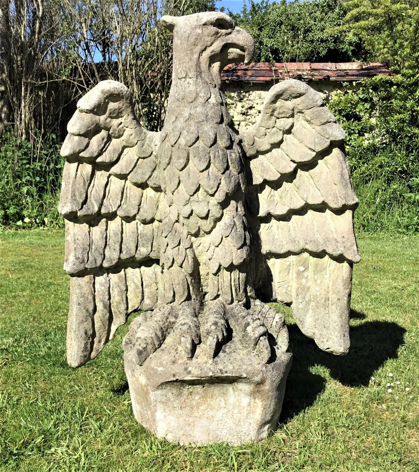 C20th large composition stone eagle