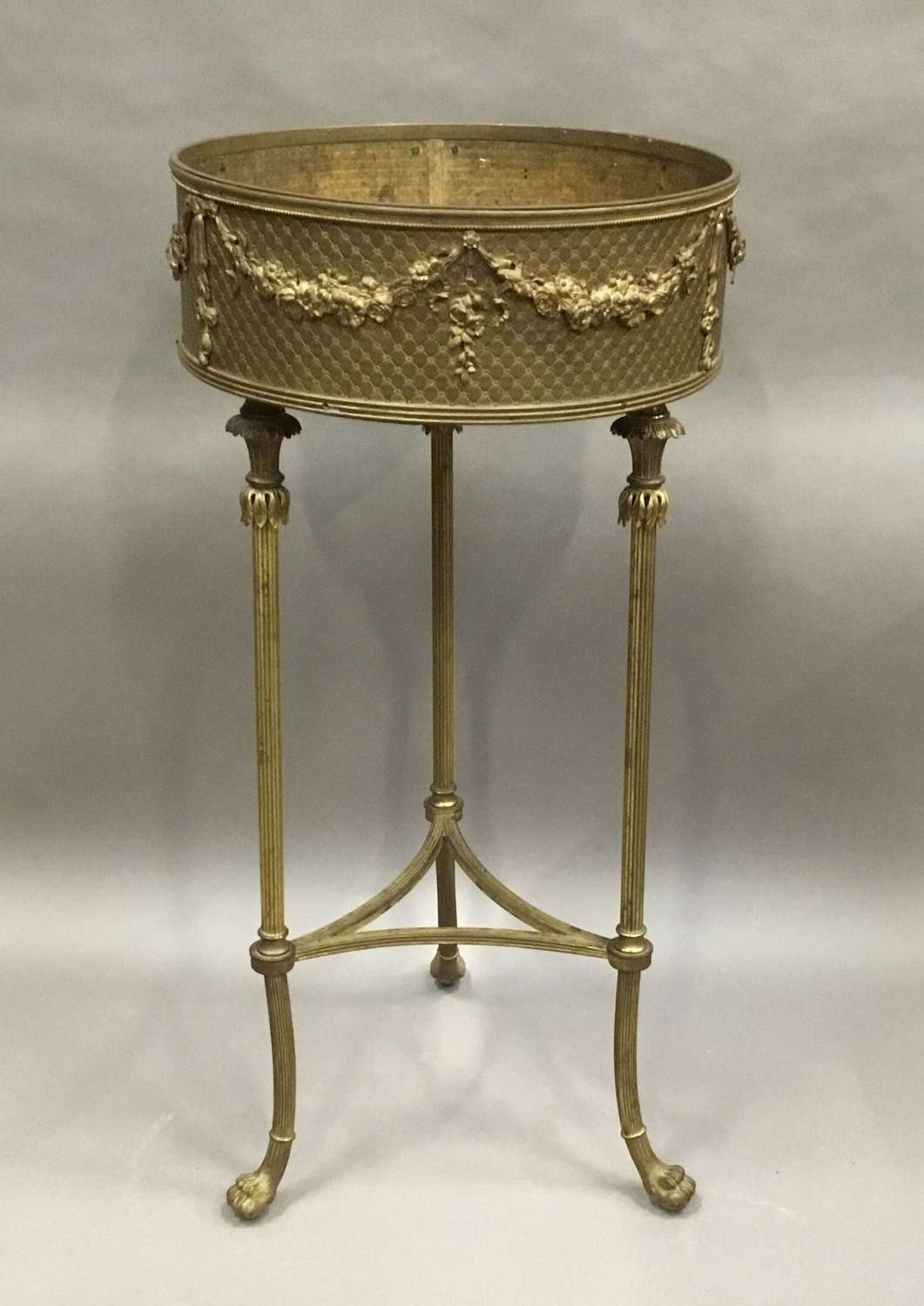 C19th French gilt brass jardiniere