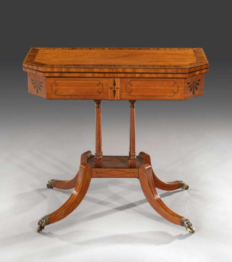 George III satinwood card table of unusually small proportions