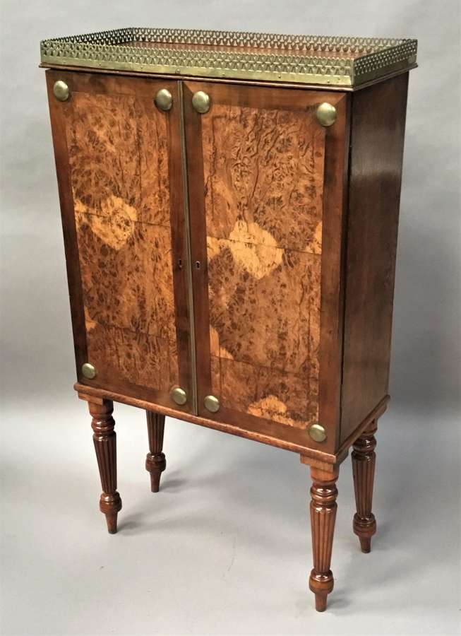 Regency oak and burr oak side cabinet of small proportions