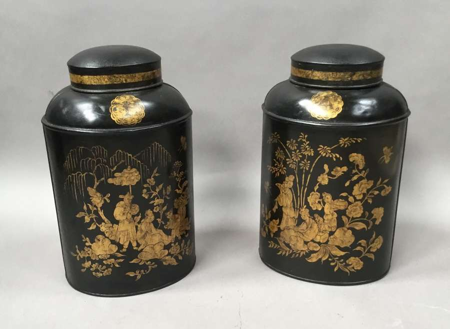 C19th pair of Chinoiserie lacquered tole tea canisters by John Bartlet