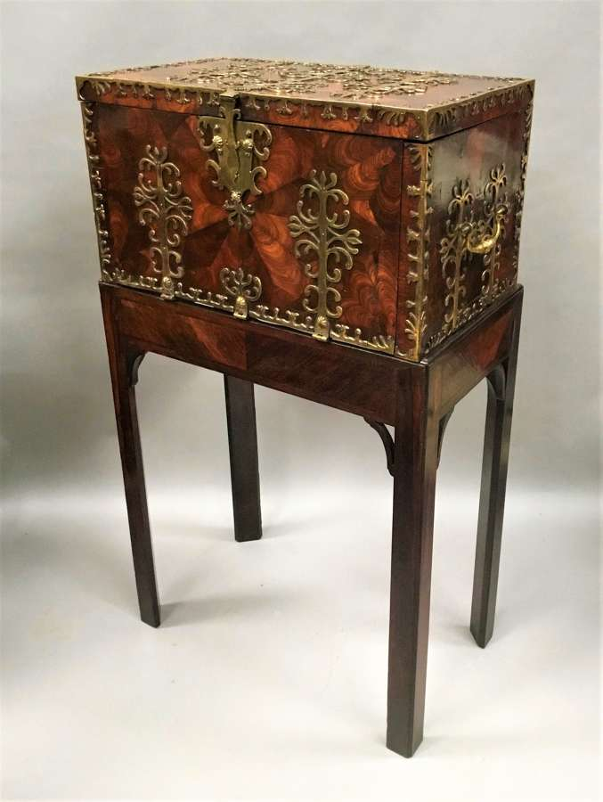 Late C17th large oyster kingwood coffre forte - strong box