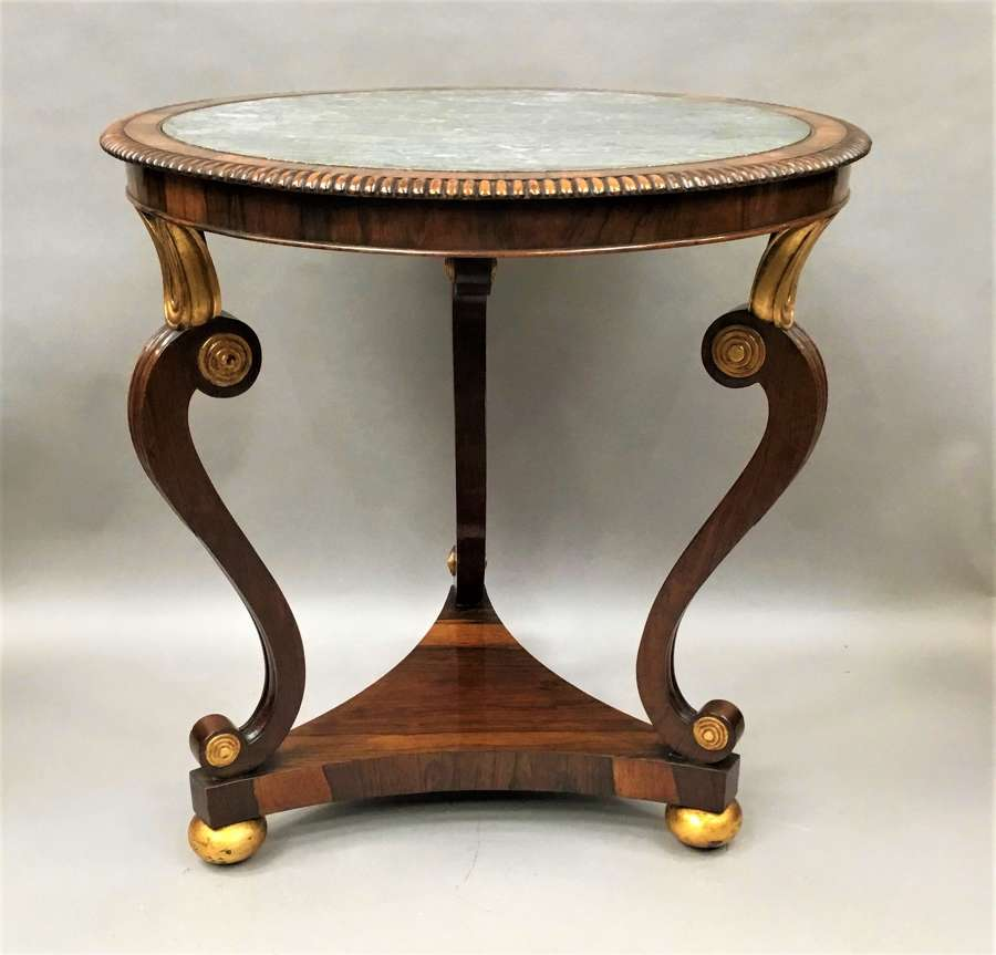 Regency circular rosewood marble top centre table