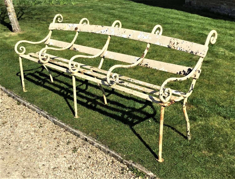 C19th iron four seater garden seat / bench