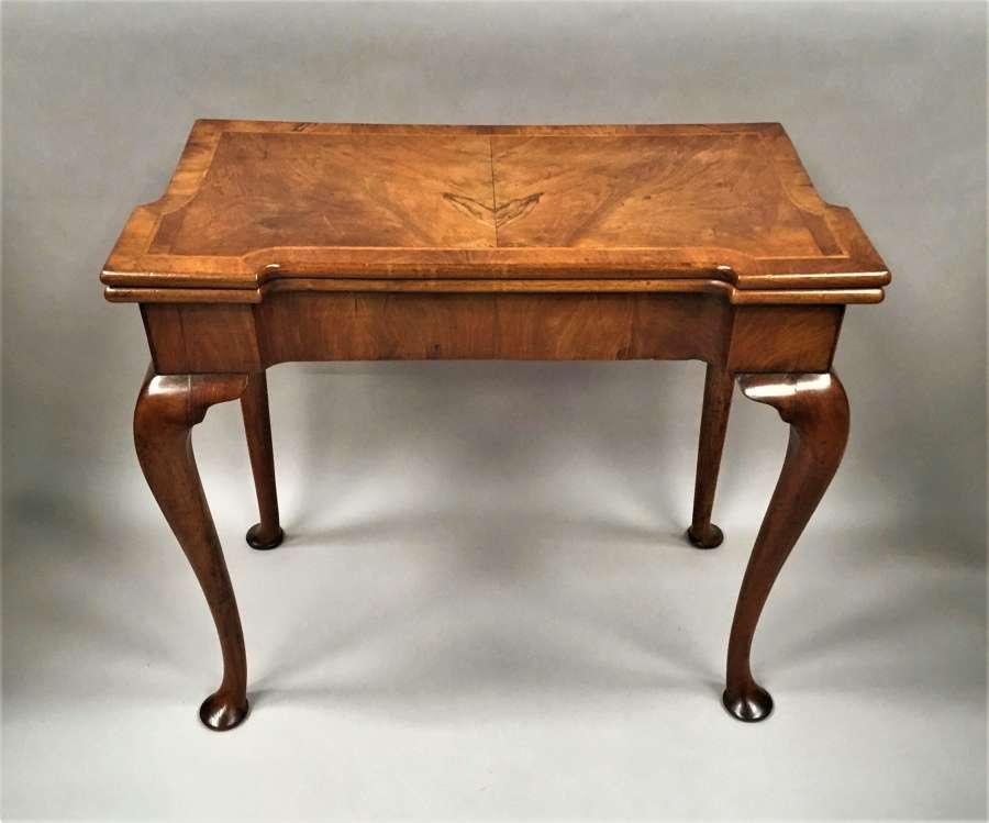 George I figured walnut card table