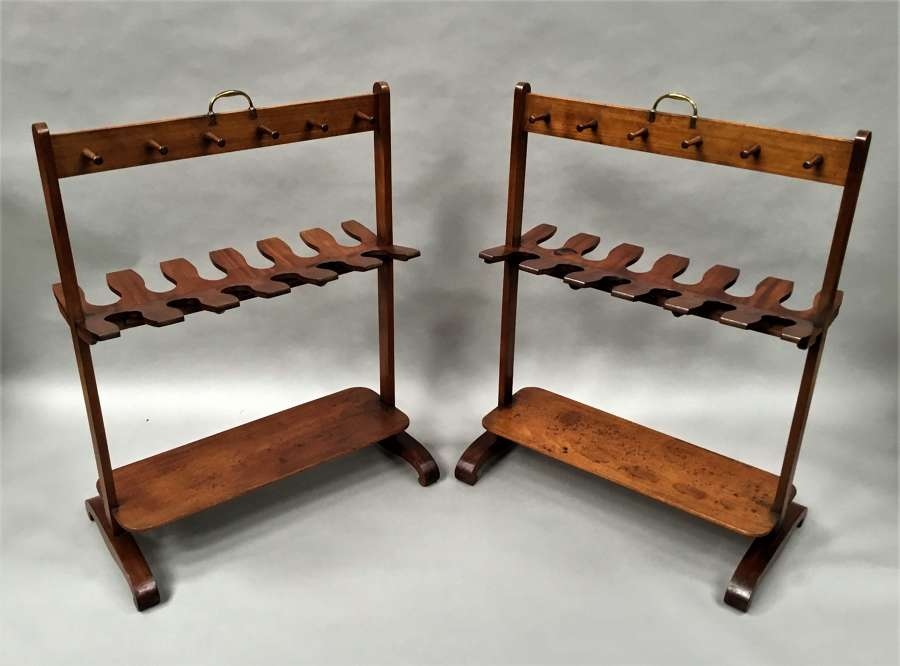 Pair Regency mahogany 'country house' whip and boot racks / stands