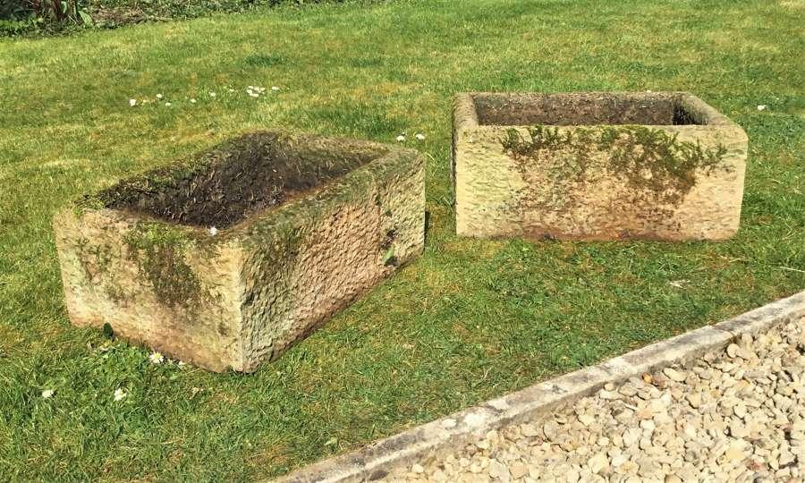 C19th pair stone troughs