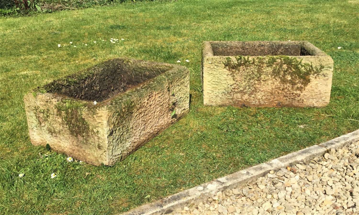 C19th pair stone troughs