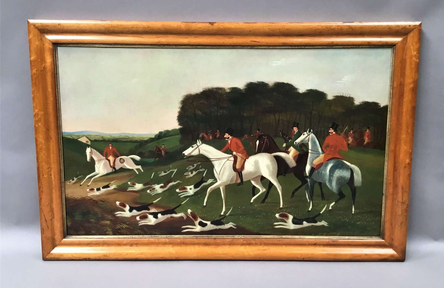C19th 'primitive' oil painting of a hunting scene