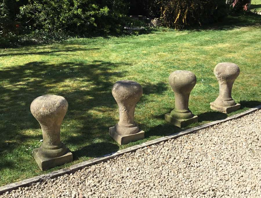 C19th set of four stone bollards / posts