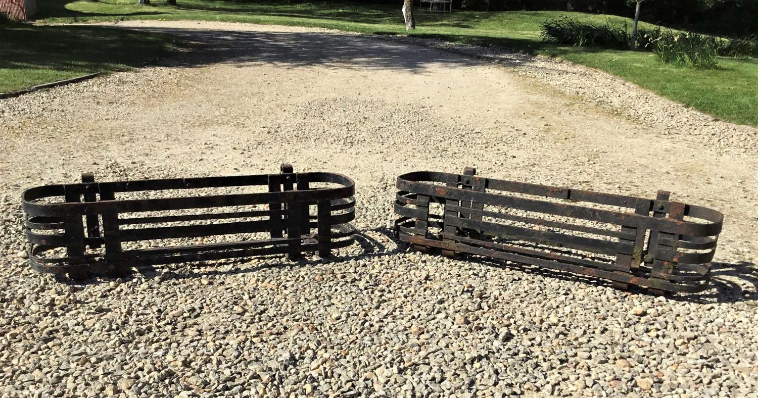 Early C20th pair of wrought iron window boxes (7 in total available)