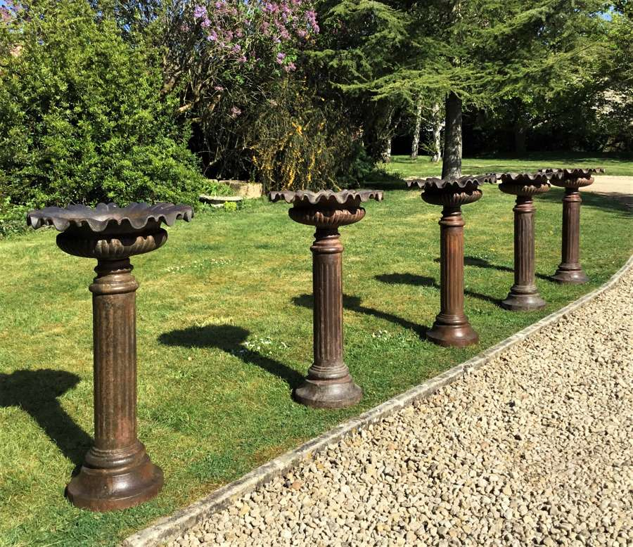 Late C19th set of 5 stylish cast iron garden urns / planters
