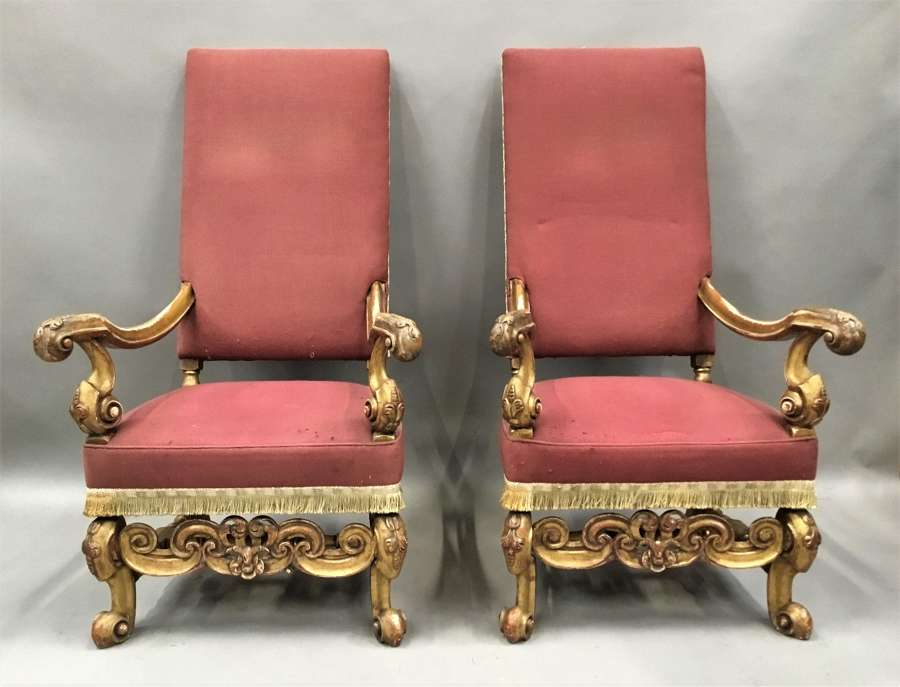 C19th pair of carved giltwood open armchairs / throne chairs