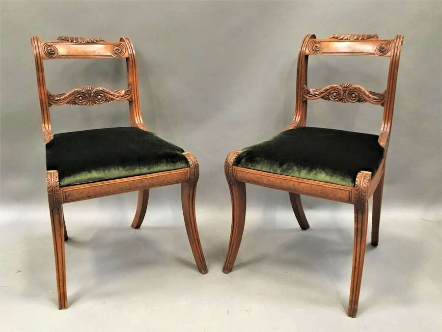 Regency pair of burr elm and elm side chairs