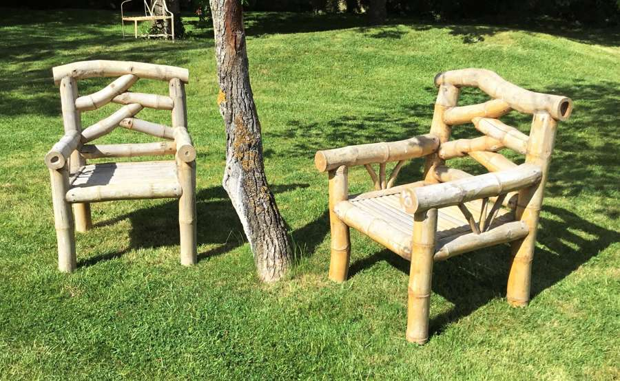 C20th bamboo pair of garden armchairs / conservatory chairs