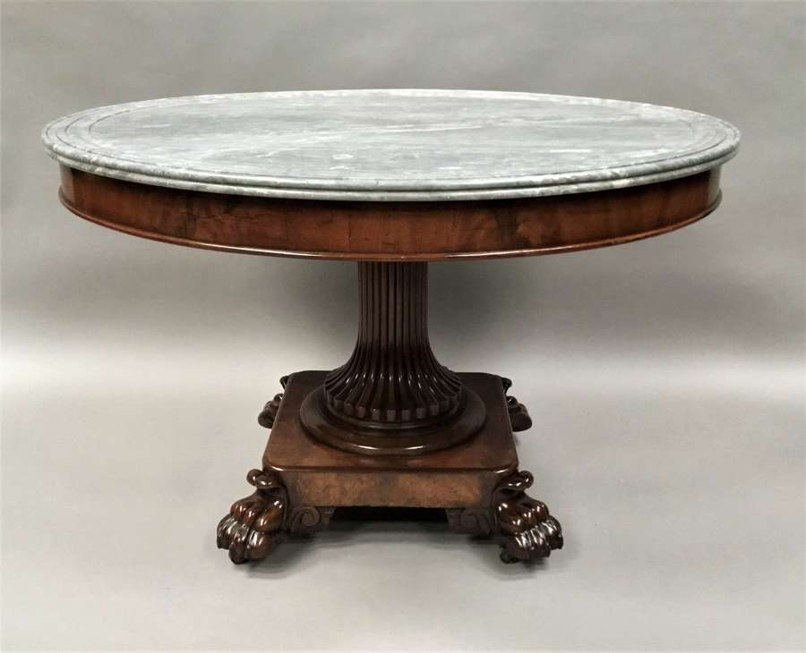 C19th mahogany and marble gueridon / centre table