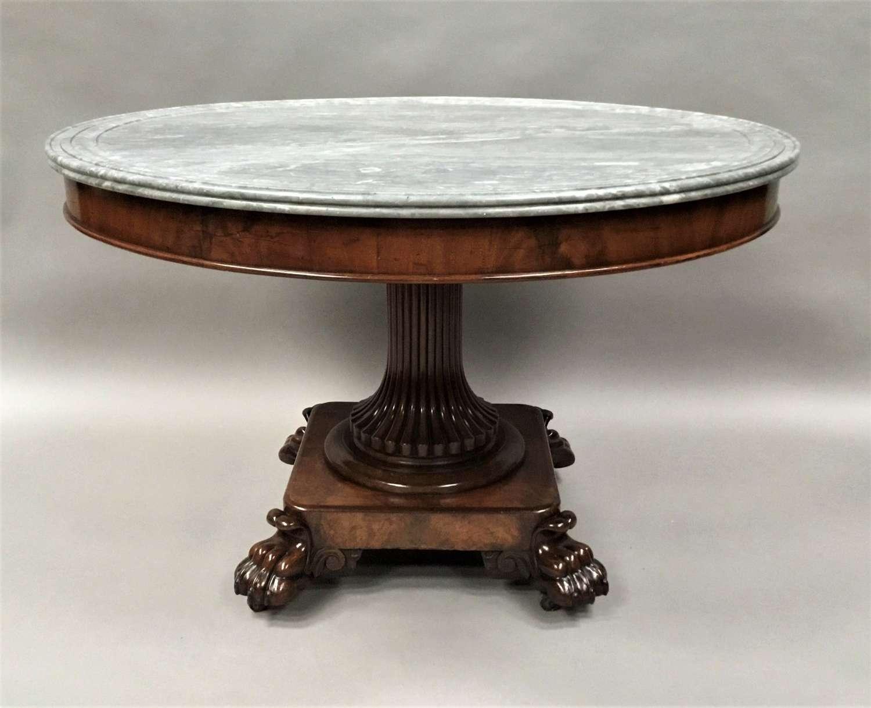 C19th mahogany and marble gueridon / centre table
