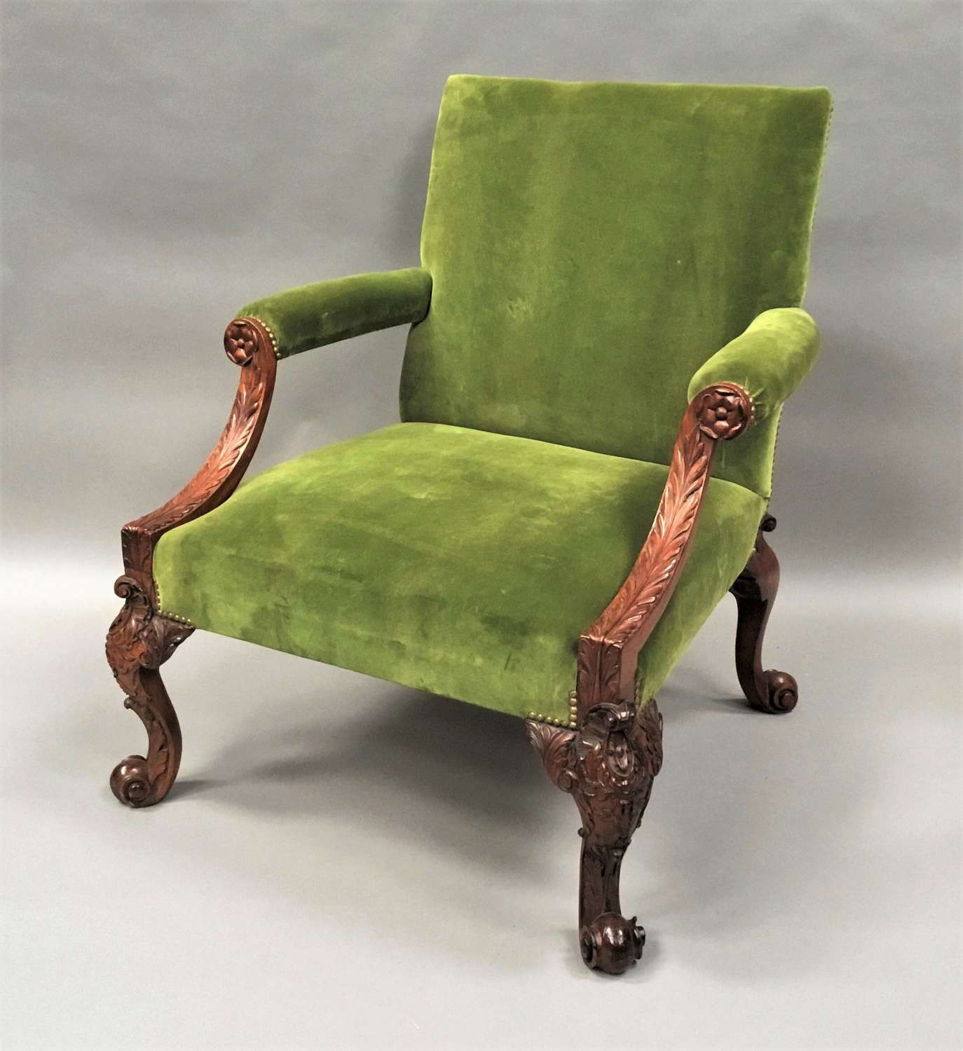 19th large carved mahogany Gainsborough chair