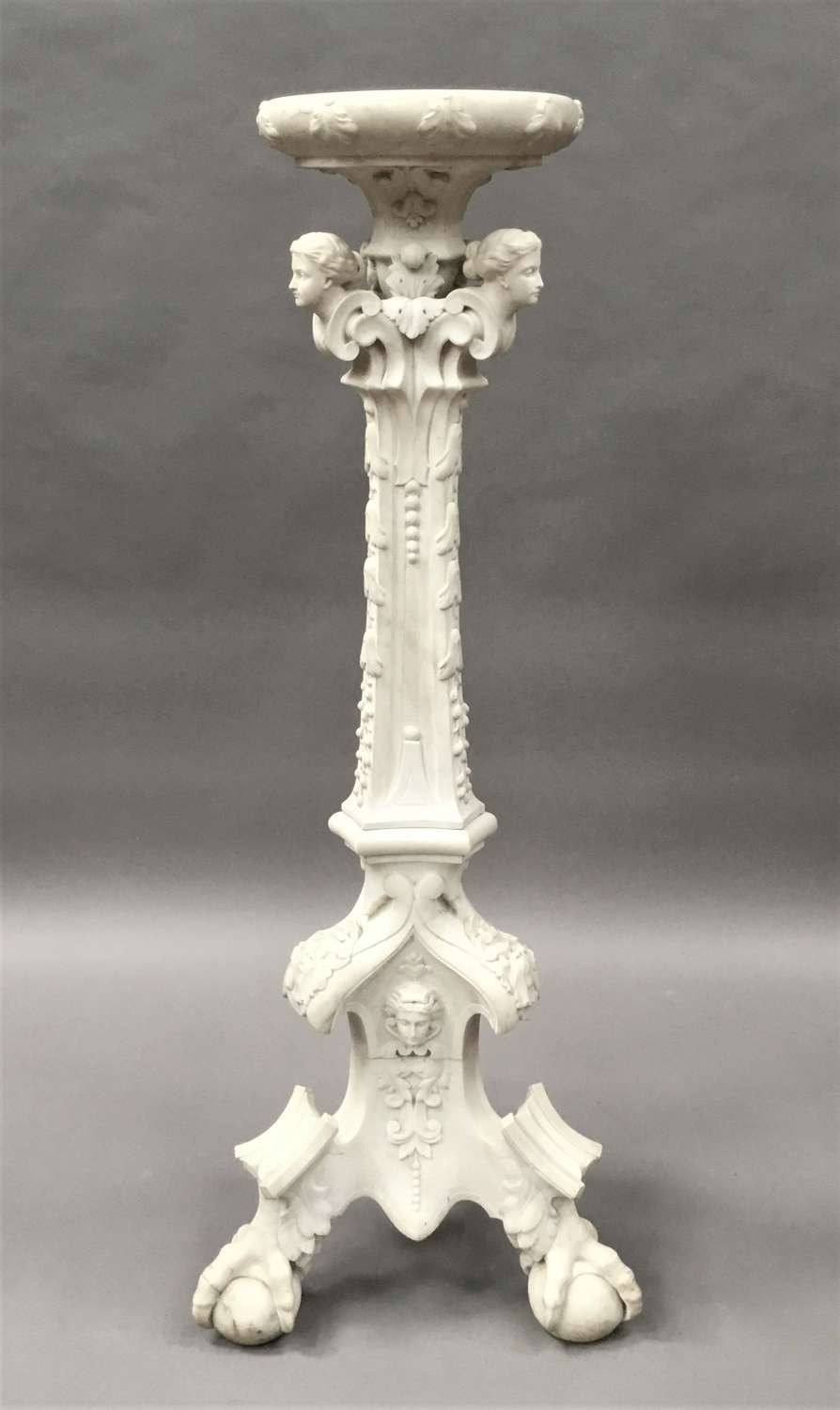 C19th Italian carved 'Carrara' marble torchere stand