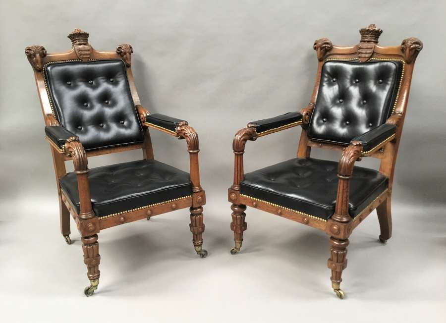C19th pair oak and leather library chairs