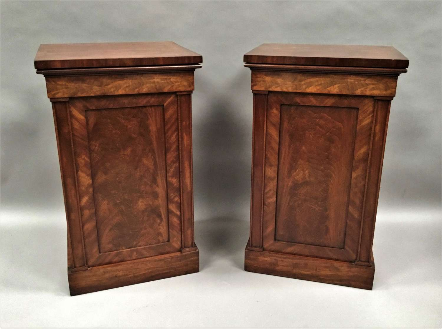 Late Regency pair of mahogany pedestal cabinets