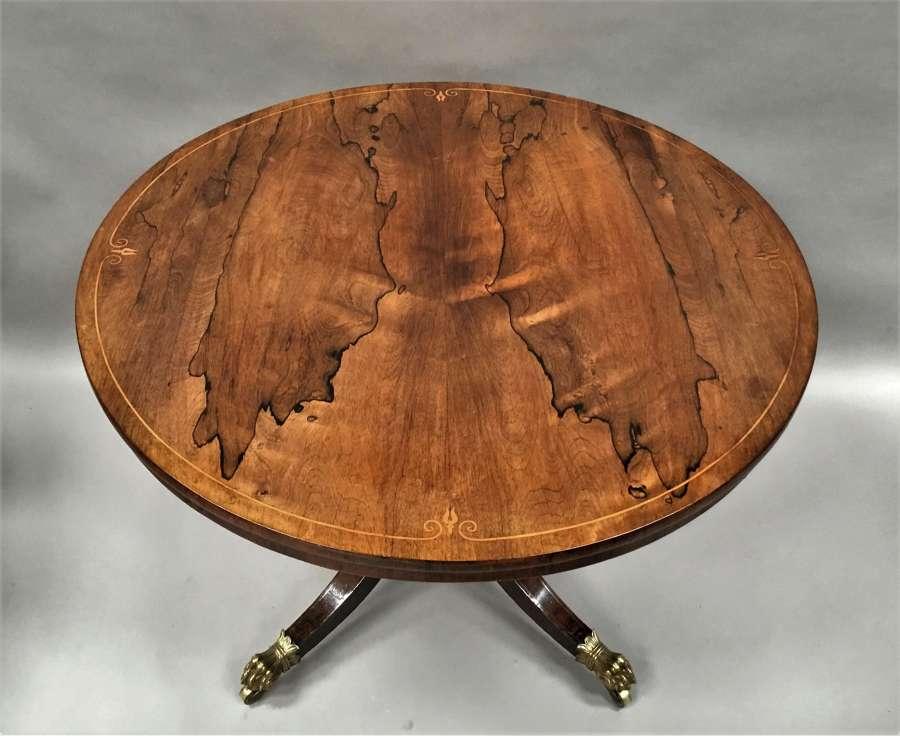 Regency rosewood circular centre table / breakfast table