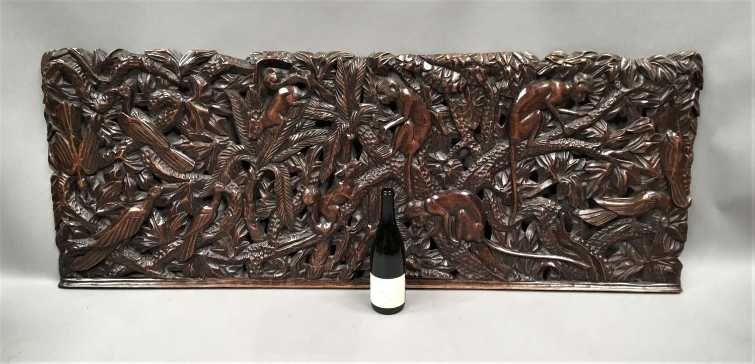 C19th large carved panel of animals