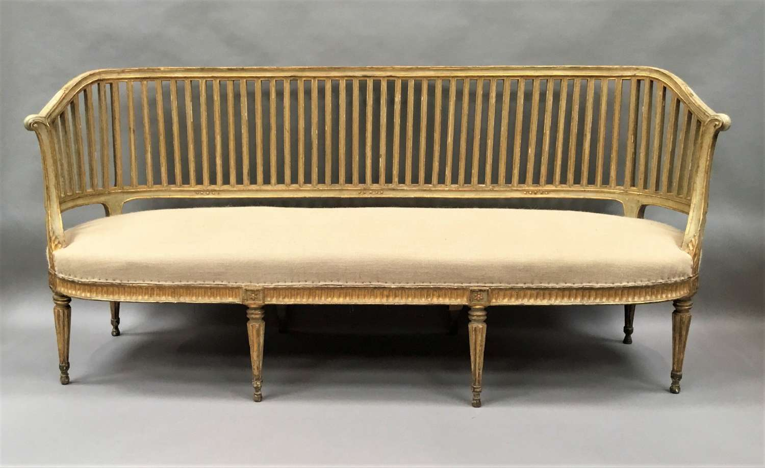 C18th Italian painted and giltwood neoclassical settee