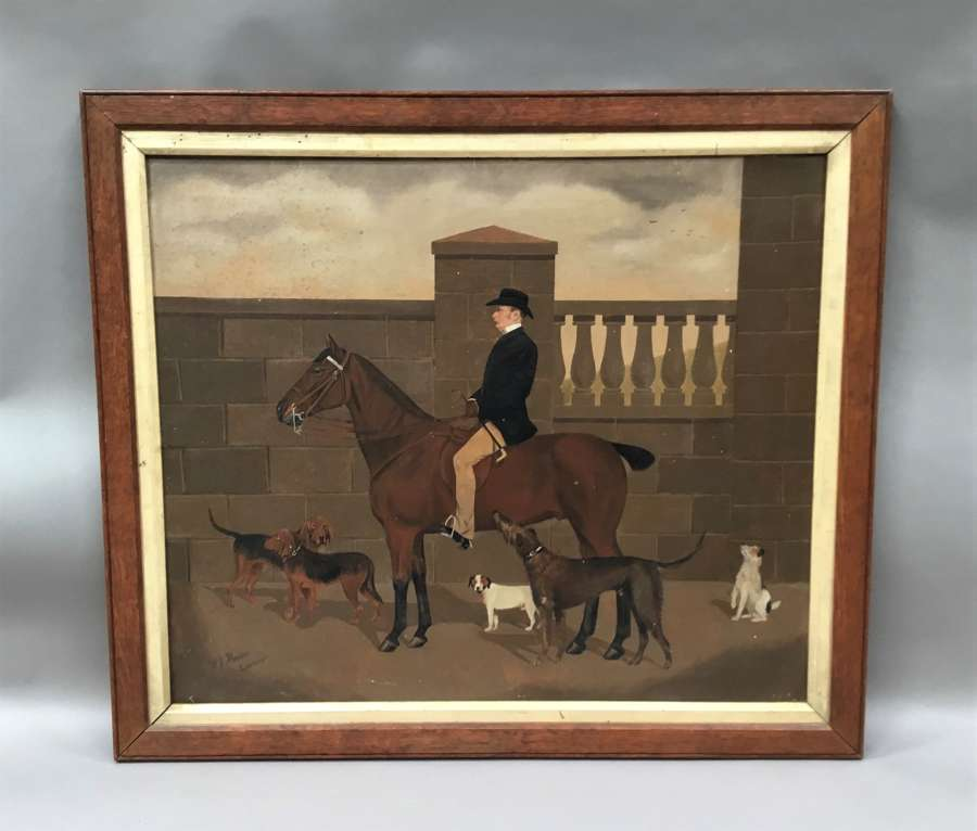 C19th oil painting of a horse and dogs by W J Howden