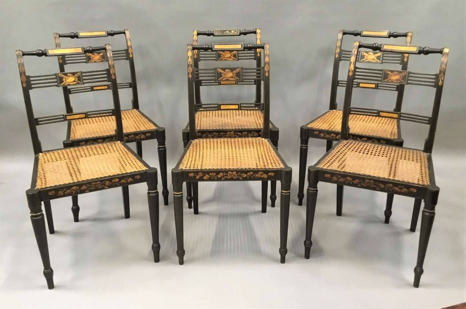 Regency set of 6 painted and parcel gilt chairs