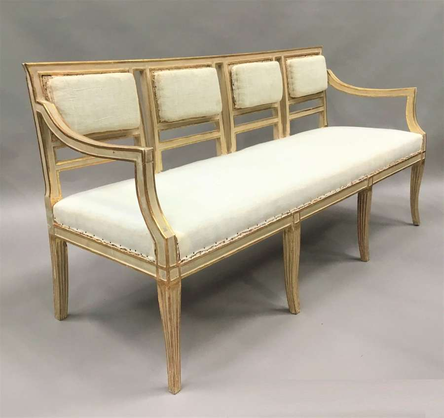 C19th Italian painted and parcel gilt settee