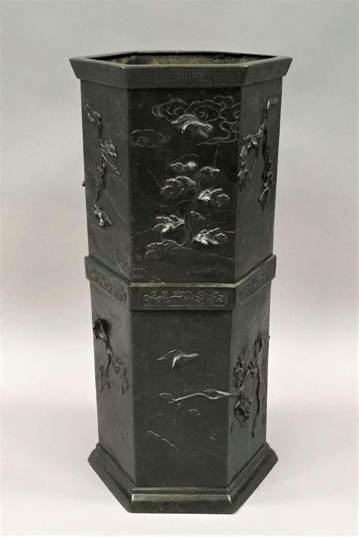 C19th Japanese bronze stick stand / umbrella stand
